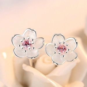 Just In✨ Cherry Blossom 925 Silver Pink Earrings